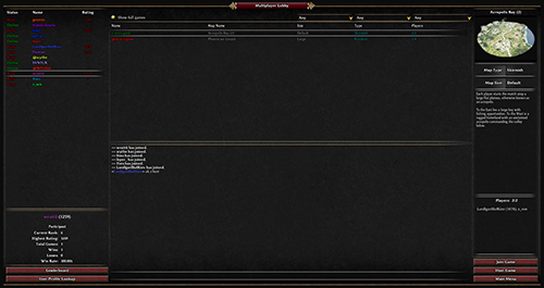 Screenshot showing the lobby with the new profiles